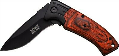Mtech Red Pakkawood Assisted Straight Black Folding Pocket Knife MTA853BRW