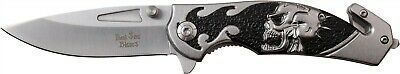 Dark Side Blades Black Biker Skull Straight Assisted Folding Knife DS-A064GY