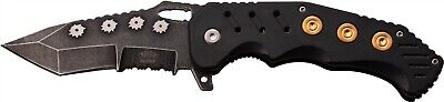 Master USA  MU-A034BK Tactical Black Assisted Serrated Folding Pocket Knife