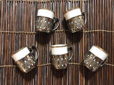 Set Of 5 Vintage Manning Bowen Silver Demitasse Silver Cup Holders & China Cups