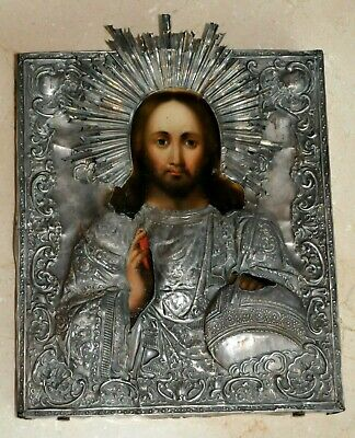 "19c. RUSSIAN IMPERIAL ROYAL ORTHODOX CHURCH ICON JESUS CHRIST GOD 84"" SILVER"