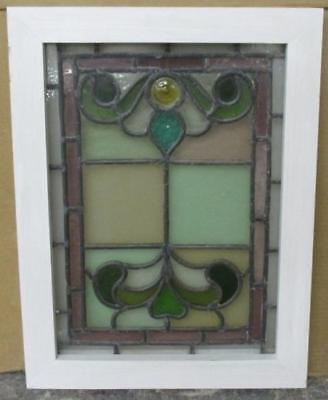 OLD ENGLISH LEADED STAINED GLASS WINDOW Victorian Floral w/ Bullseye 16 x 20.75""
