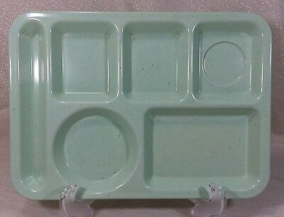 """Carlisle 6 Compartment Lunch Food Tray 10""""x14"""" Speckled Green Melamine Cafeteria"""