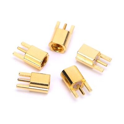 5PCS MMCX Female Jack Connector PCB Mount With Solder Straight Goldplated 3 Pins