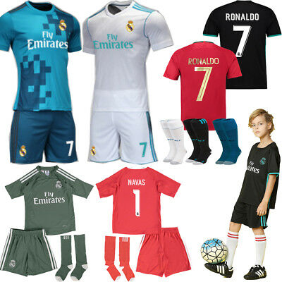 17/18 New Football Home Away Kit Youth Summer Soccer Sportswear Jersey+Shorts