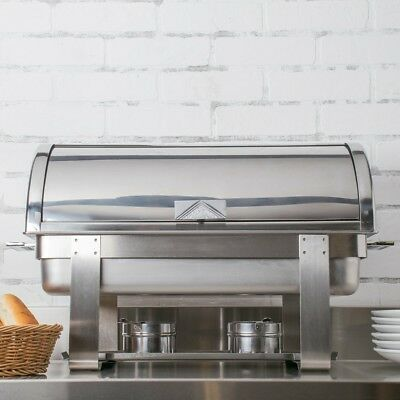 NEW!! Choice Deluxe 8 Qt. Roll Top Chafer with Chrome Accents. Stainless steel