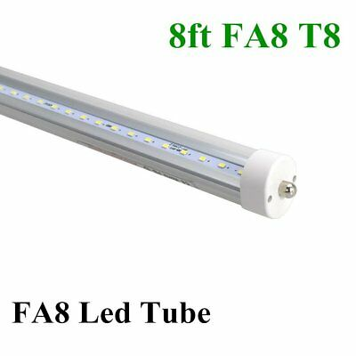 10-100X 8FT 40w Single Pin FA8 T8 T12 LED Tube Light CLEAR LENS 6500K Wholesale