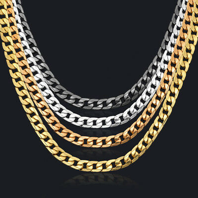 Curb Chain Necklace for men 24'' 10mm Black/Silver/Rose/18K Gold Plated Cuban
