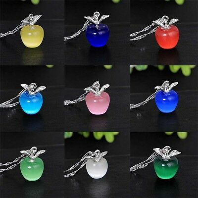 Women 925 Silver Apple Plated Apple Pendant Necklace Choker Chain Jewelry Gift