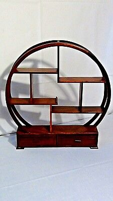 Antique Chinese Mahogany Wood Carved Roung Table Top Display Curio W/drawers