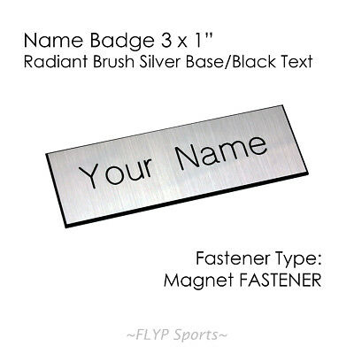 "Name Badge Tag Plate Silver/Black Magnet 3x1"" Personalised Engraved Customise..."