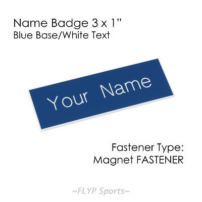 "Name Badge Tag Plate Blue/White Magnet 3x1"" Personalised Engraved Customised ..."