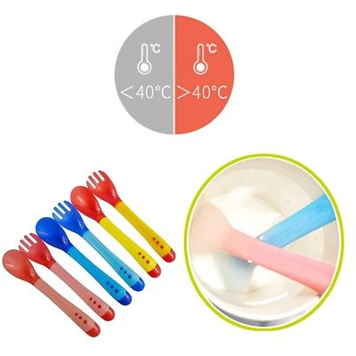 Cute Baby Safety Silicone Temperature Sensing Spoon and Fork Feeding Flatware