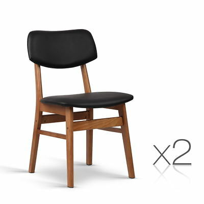 Set of 2 Wood and Fabric Dining Chair - Black