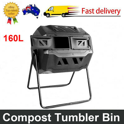 160L Compost Tumbler Dual Twin Bin Food Waste Aerated Composter Garden Black AU
