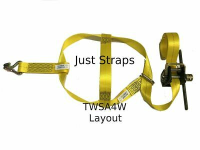 Just Straps Car Transport Tow Dolly Strap 4 metre c/w Mini Winch