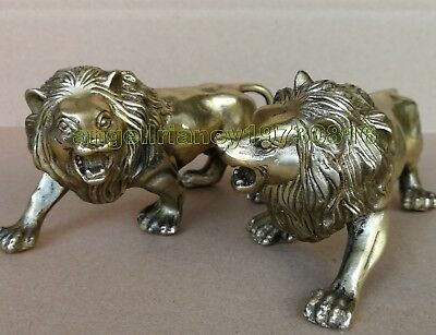Collectible Lions Decorated Old Bronze Carved lion Statue 2pcs