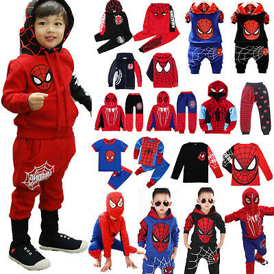 Kids Boy Spiderman Hoodie T-shirts +Pants Tracksuit Outfits Sets Cosplay Costume