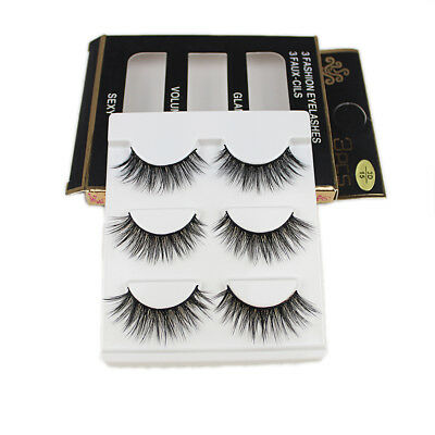 15 Pairs Handmade Eye Lashes Real Mink 3D Natural Cross False Eyelashes LOT
