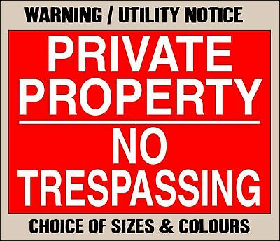 PRIVATE PROPERTY NO TRESPASSING Metal NOTICE ~ keep out land warning farm sign