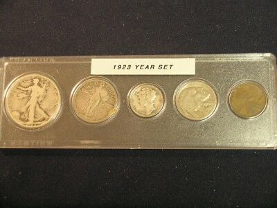 1923 Vintage Circulated Year Set - Nice 5-Coin