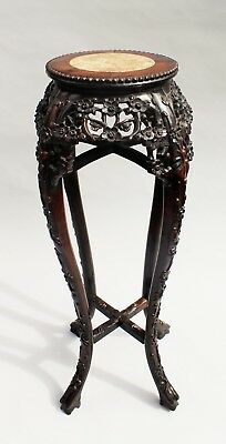 Antique Chinese Marble Top Hardwood Stand