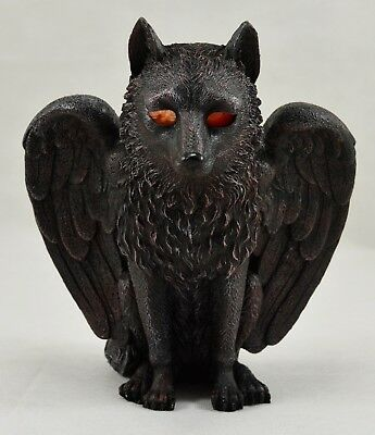 Large Winged Wolf/Demon Tealight Candle Holder Ornament/Statue with Backlit Eyes