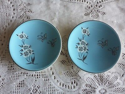 Palissy England 'maytime' Butter Or Pin Dish X 2 Blue Floral + Butterflies