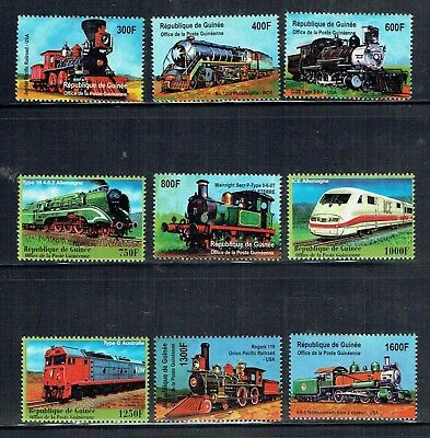 Guinea 2001 Locomotives of the World 9 stamps unmounted mint
