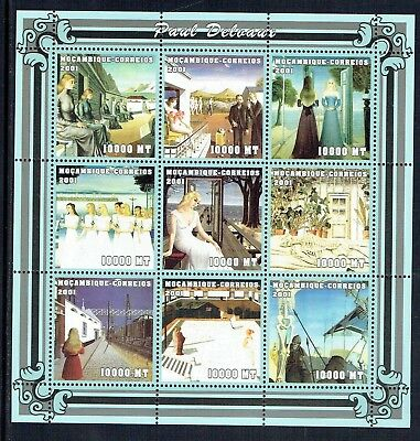 Mozambique 2001 Delvaux Paintings sheetlet with railway theme unmounted mint