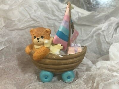 Enesco Lucy/Me Bear-Lucy Riggs~ sailboat five year old birthday bear blue pink