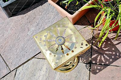 Pretty Antique Victorian Brass Plant Stand Trivet • Collectible • Pierced Ornate