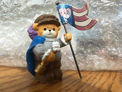 Enesco Lucy and Me Riggs Bear American Flag USA Historical Red White and Blue
