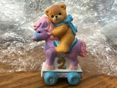 Enesco Lucy and Me Riggs Bear Two Year Old Second Birthday Pony Horse Purple