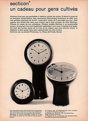 1986  A  Ad French Secticon Battery Clock Portescap Table Wall Pedestal