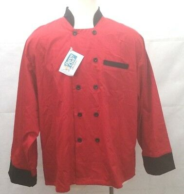 Happy Chef - Long Sleeve Uniform Top - Red & Black - Mens Size 3XL Cook       B2