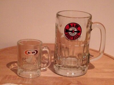 2 A&W ROOTBEER MUGS 1 Tiny Childs & 1 LARGE *MINT* VINTAGE *NEVER USED***