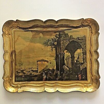Decorative Ornate Hand Painted Wooden Serving Tray Gold Gilt Scalloped Edges Vtg