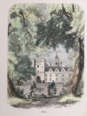 1848 Antique Print; Knole or Knowl House, Sevenoaks, Kent after James Thorne