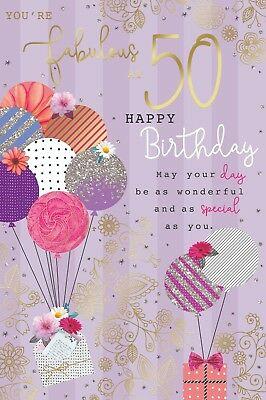 50 50th Today Balloons Presents Female Design Happy Birthday Card Lovely Verse