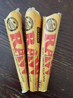 RAW Classic Rolling Paper Pre Rolled Cones Natural Hemp 3 packs of 6 cones 1 1/4
