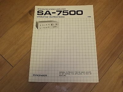 Pioneer SA-7500 Stereo Amplifier Original Operating Instructions Owners Manual