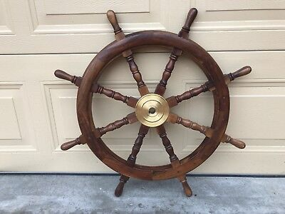 Large Solid Timber & Brass Nautical Display Ships Steering Wheel Man Cave Bar