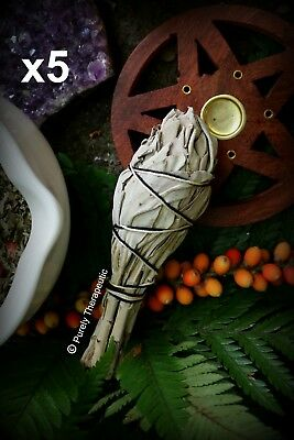 SMUDGE STICK WHITE SAGE x5  Wicca Pagan Herbs Cleanse Ritual Spell Witch Magic
