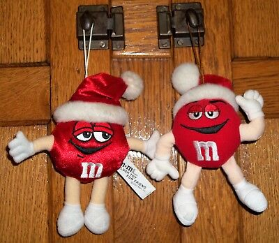 2 M&M's CANDY NOVELTY Plush Red Santa Hat Christmas Ornaments 2001