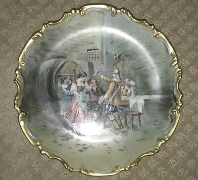 """Limoges Collector Plate: Hand painted FRANCE : Charger Plate """"Scene Tavern"""""""