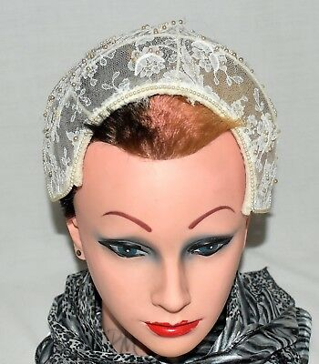 Vintage 1950s Floral Ivory Lace with Faux Pearls on Wire Frame Wedding Cap Hat