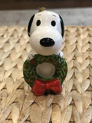 Vintage 1966 Snoopy Holding a Wreath Christmas Ornament Peanuts Ceramic