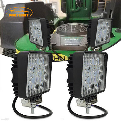 Pair 4Inch Round LED Light Bar Spot/Flood John Deere Lawn Mower Fog Lamp 12V/24V