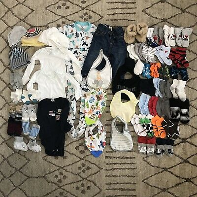 76 Piece Baby Boy Lot Of Socks, Bibs, Slippers, Hats, Outfits